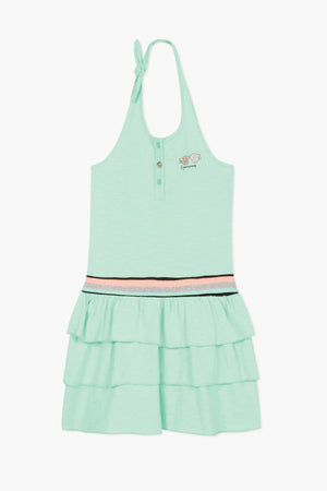 3pommes Sea Foam Ruffle Girls Dress