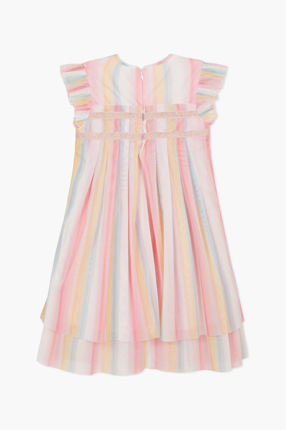 Lili Gaufrette Sherbet Pleated Girls Dress