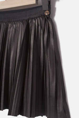 IKKS Faux Leather Pleated Skirt