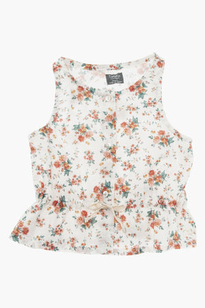 Tocoto Vintage Sleeveless Floral Girls Top