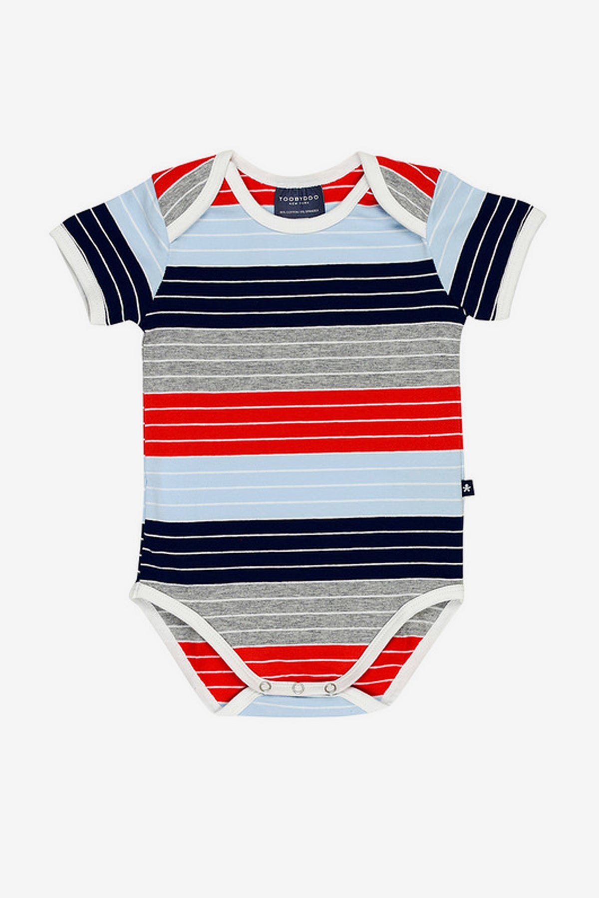 Toobydoo Red and Navy Striped Romper