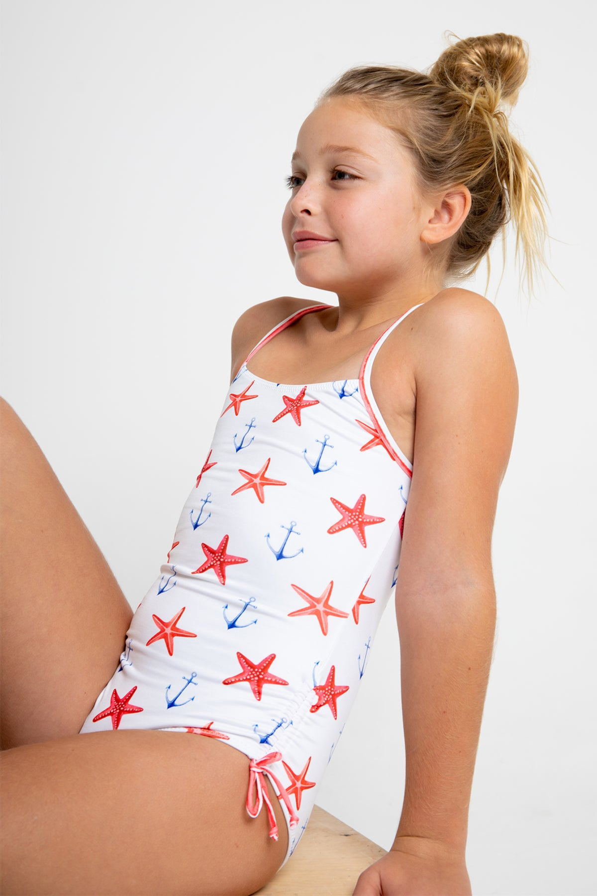 Stella Cove Starfish And Anchor Girls Swimsuit