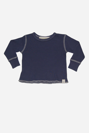 Go Gently Baby Rib Thermal Tee - Navy