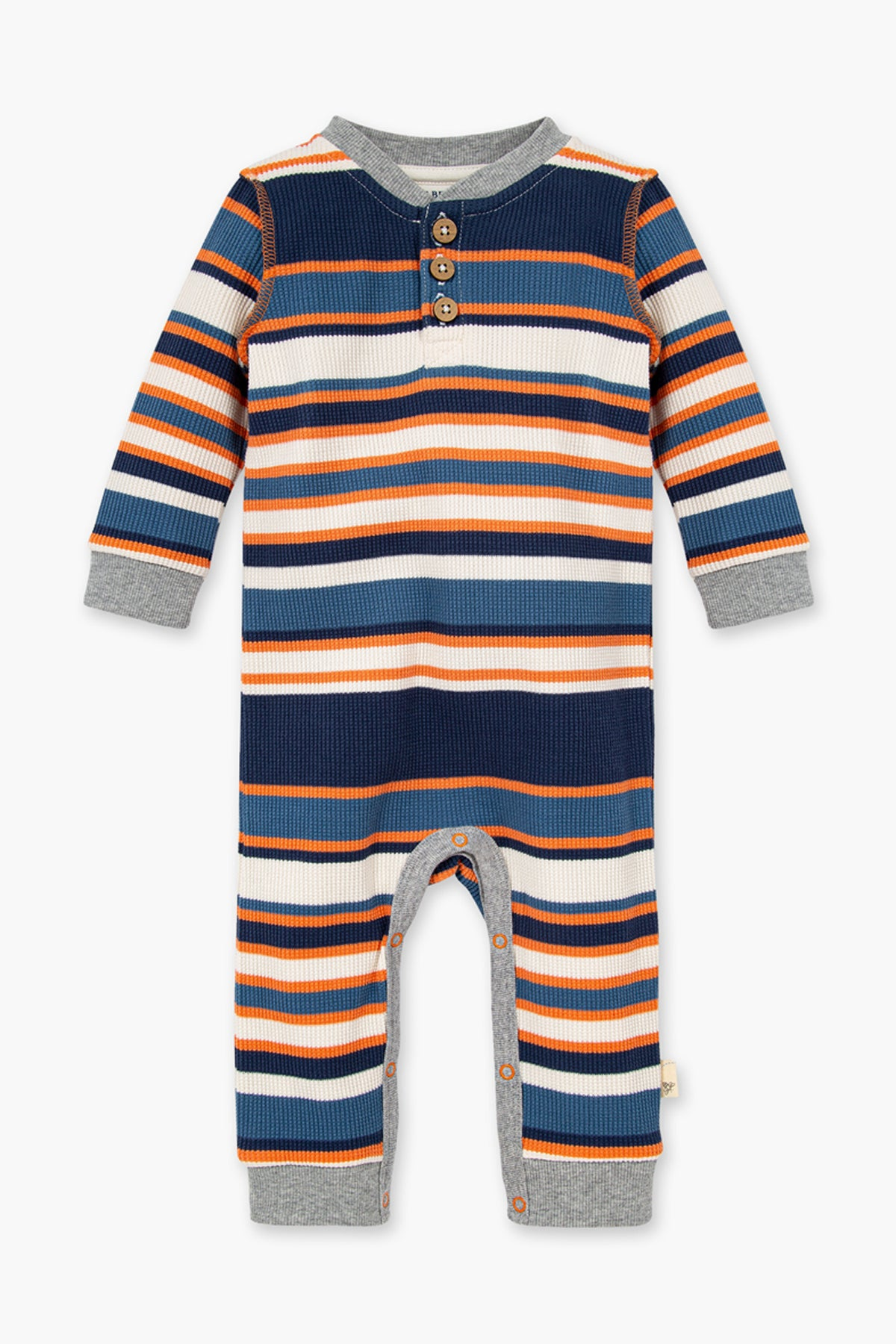 Burt's Bees Thermal Multi Stripe Henley Baby Jumpsuit