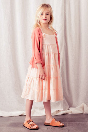 Tocoto Vintage Tiered Linen Girls Dress