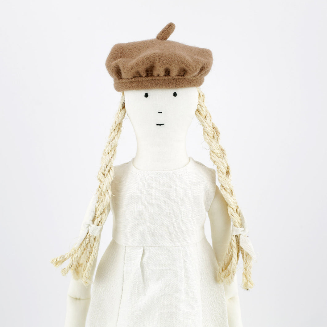 Bertille, the linen rag doll in a dress and crown