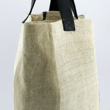Load image into Gallery viewer, Large black fine stripe linen tote bag