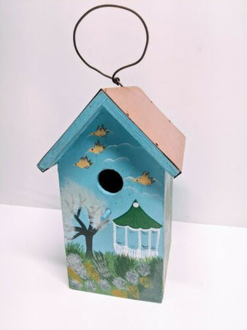 Peaked Sky Blue Birdhouse Copper Roof