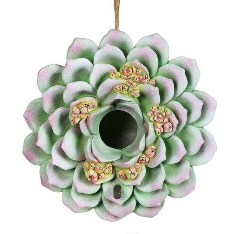 Exhart Succulent Bird House, 7 inch, Resin, Green