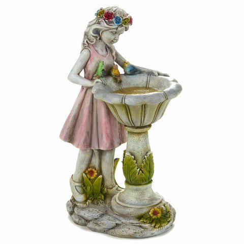 Girl w/ Solar Bird Bath Garden Figurine Sculpture Outdoor Yard Statue