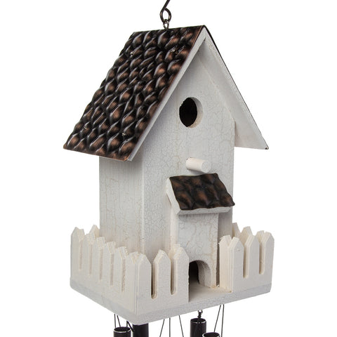 Russco III Hand-Tuned Wind Chime Antique Garden Wooden Birdhouse