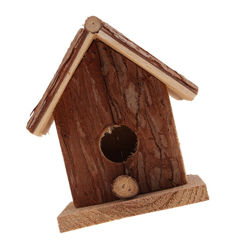 Hand Carved Rustic Wood Birds House Creative Hanging Decor Garden Ornaments