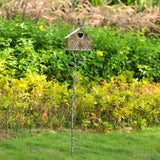 "Brogan 55"" Tall Rustic Farmhouse Barn Design Metal Birdhouse Garden Stake,"