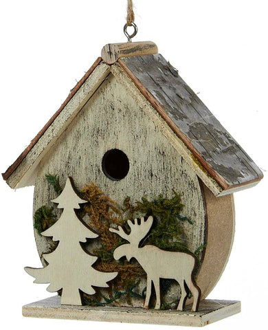 Birdhouses with Moose and Tree Moss Christmas Holiday