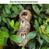 2pcs Hanging Birdhouse Natural Grass Bird Hut Shelter with 3 Holes