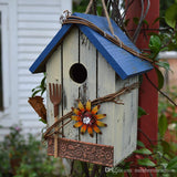 Wood Bird House, Retro Arts And Crafts Country Cottages Bird House Woodland