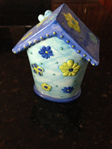ceramic turquoise floral birdhouse approximately 7""