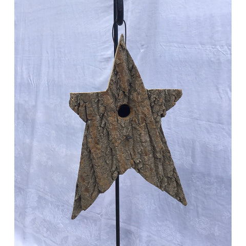 Bark Wood Star Shaped Bird House