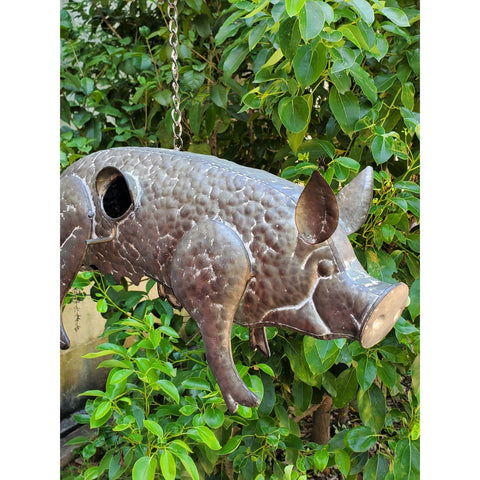 Galvanized Hanging Animal Birdhouse - Pig
