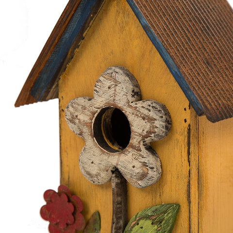 "Glitzhome 10""H Distressed Solid Wood Birdhouse with Flower"