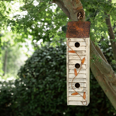 Glitzhome Tall Three-Tier Hand Painted Wood Birdhouse