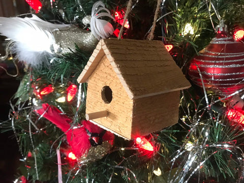 Rustic Birdhouse Decoration, Christmas Tree Ornament