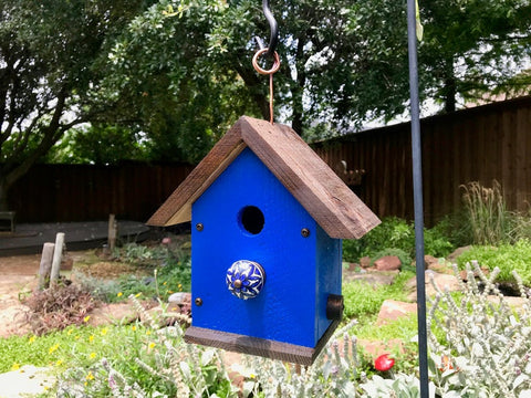 Hanging Rustic Outdoor Birdhouse - Cedar Wood - Deep Blue