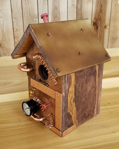 Steampunk Birdhouse - Wood Birdhouse - Recycled Wood