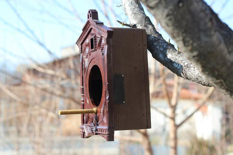 Living Roof Birdhouse Made from Old Cuckoo Clock, Garden Decor