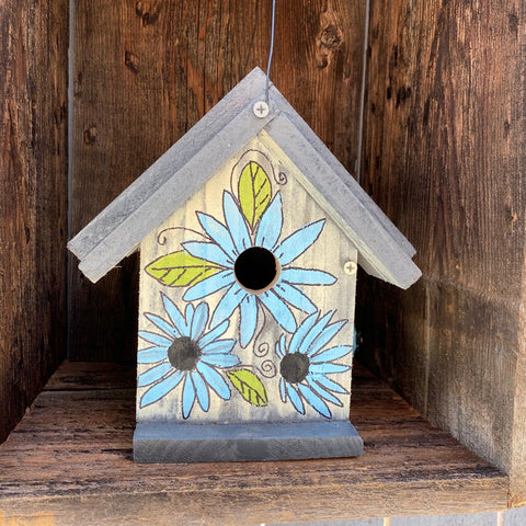 Painted Birdhouse, Garden Yard Art, Functional Bird House