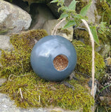 Grey Gray Globe Ceramic Wild Bird Seed Feeder