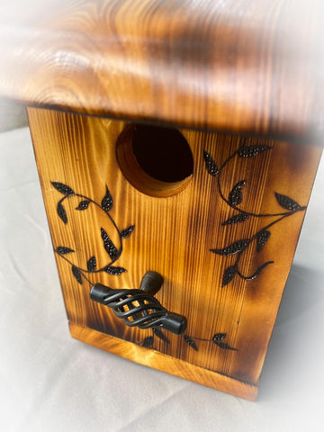 Wood Burned High Quality Wooden Hibiscus and Vine High End Unique Birdhouse