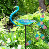 Large Peacock Outdoor Bird Bath Stake Bird Feeder, Hand Painted Glass Bowl