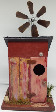 Shabby Chic Bird Outhouse wWindmill