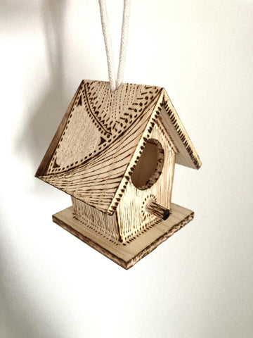 Mini Birdhouse Ornament wood burned by hand, perfect gift