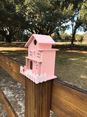 Pink and White BirdhouseHand Painted, Shed, Church, Country House