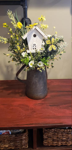 Butterfly Floral Arrangement| Birdhouse Floral Centerpiece