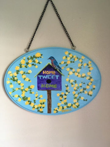 "12"" x 7"" Hanging wood and varnished wall plaque"