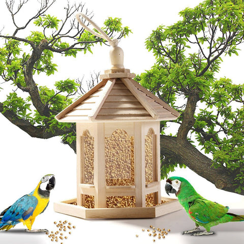 Wooden Birds Feeder Outdoor Garden Yard Hanging House Shaped Park Bir