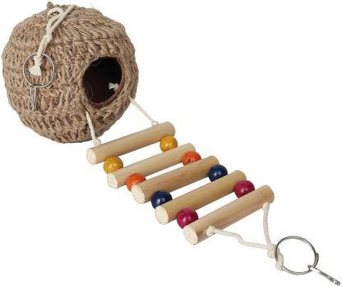 Foodie Puppies Natural Earthenware Jute Bird Feeder House