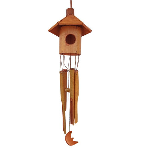 Wooden Wind Chime Bamboo Birdhouse Melodic Chime