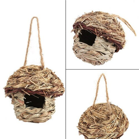 Straw Bird House Nest Home Hanging Decor durable Birdhouse