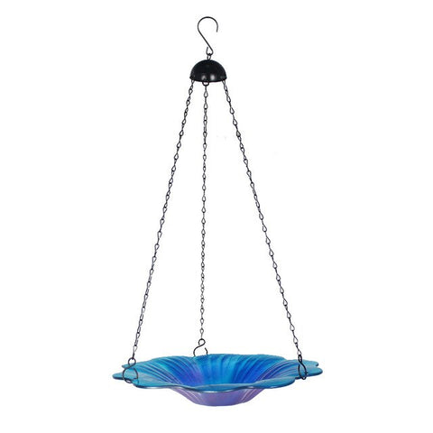 Two Color Haning Bird Bath Glass Bird Feeder