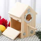 Wood Bird Breeding Box Bird House Natural Cage Resting Place Wall-Mounted