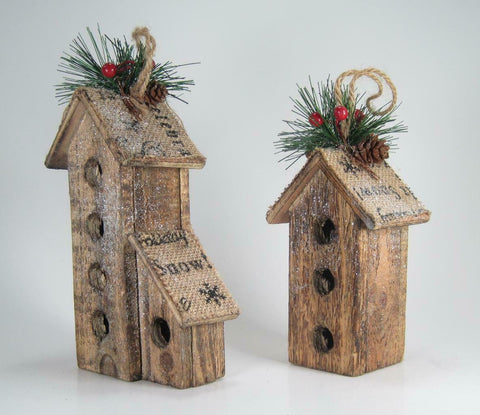 Wood Bird House Christmas Ornaments with Burlap Pine & Berries Set of 2