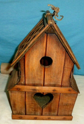 RUSTIC LOVE SHACK HEART SHAPED & ROUND HOLE BIRDHOUSE