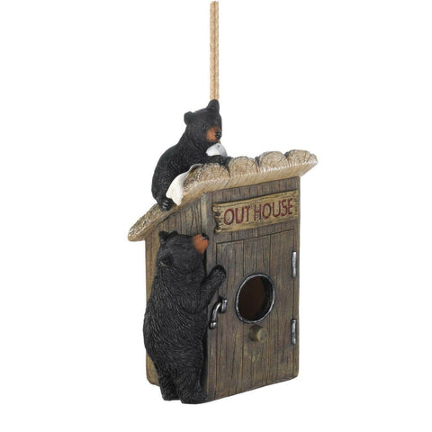 fishing rustic lodge OUTHOUSE camping BLACK BEAR fairy garden Bird house
