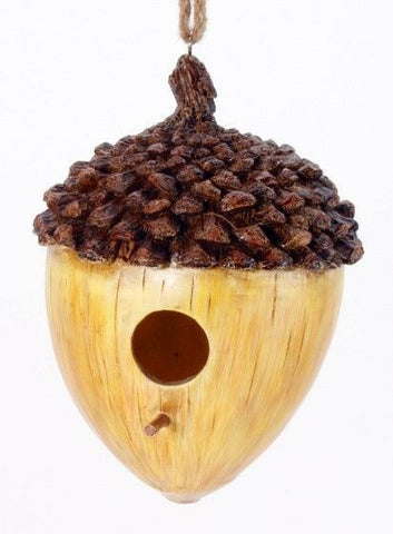 Acorn Birdhouse Brown & Tan Decorative House, Resin Calcium Carbonate Decorative