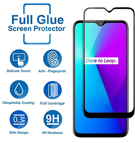 tempered glass edge to edge full screen coverage for : realme 5 (black, full glue, pack of 1)
