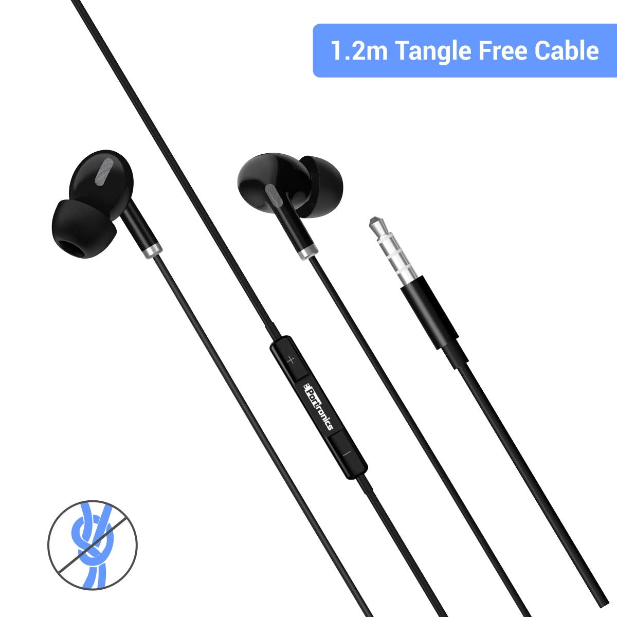 Portronics Conch Delta POR-1155 in-Ear Wired Earphone, 1.2m Tangle Free Cable, in-Line Mic, Noise Reduction, 3.5mm Aux Port and High Bass, for All Android & iOS Devices(Black)